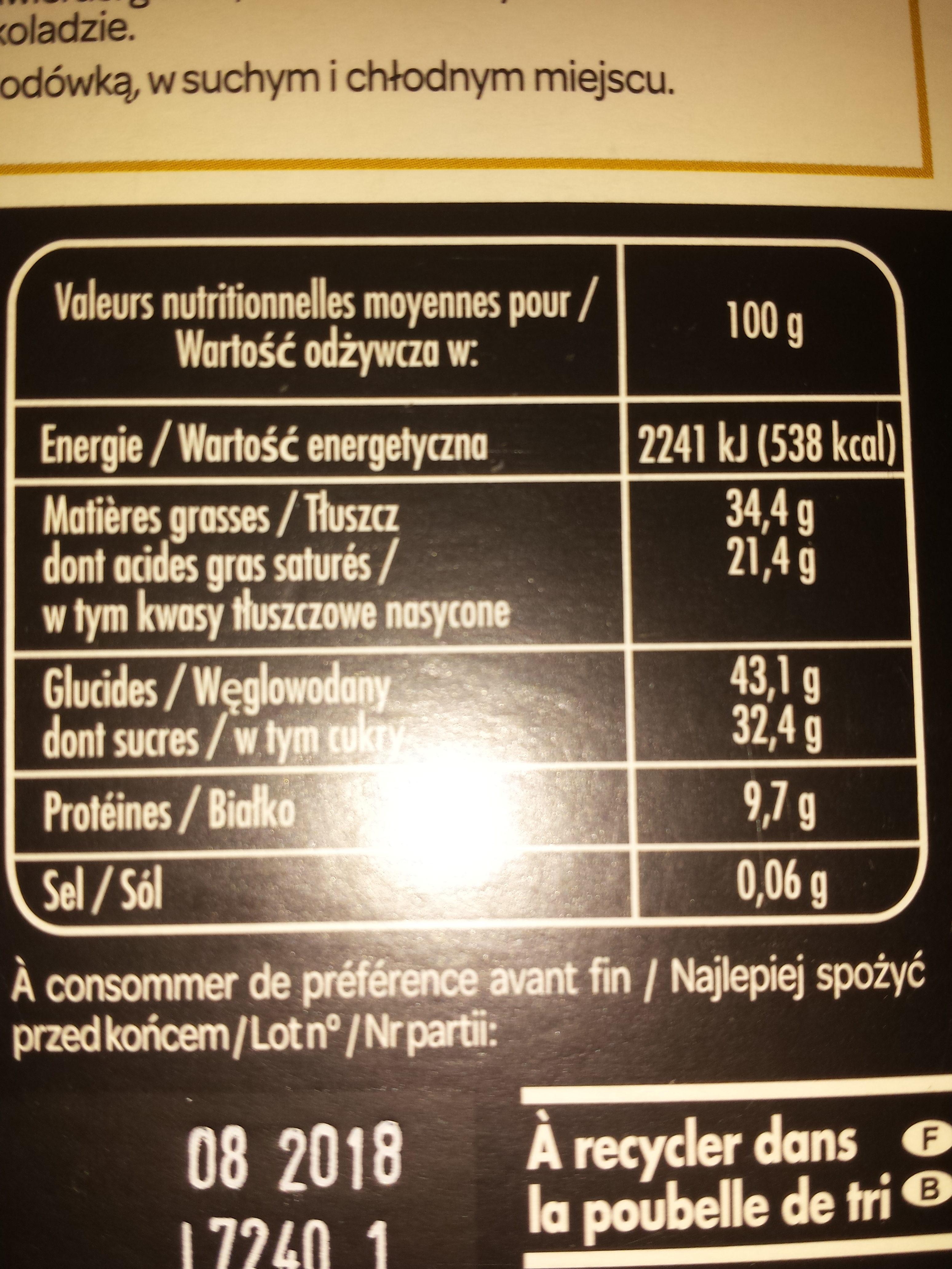 Le Captivant Chocolat noir écorces d'orange confites - Voedingswaarden - fr