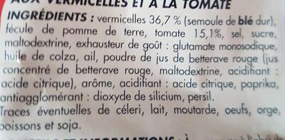 Netto Potage Tomate Aux vermicelles72g - Ingredients