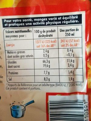Netto Potage Tomate Aux vermicelles72g - Nutrition facts
