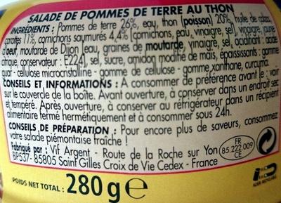 Salade au Thon Piémontaise - Ingrédients