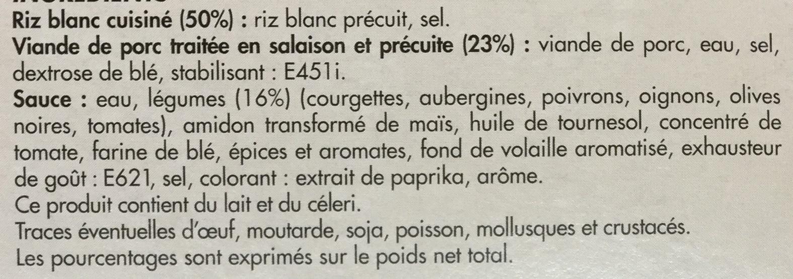 Porc cuisiné à la Provençale et son riz - Ingredients