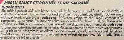Merlu sauce citronnée et riz safrane - Ingredients