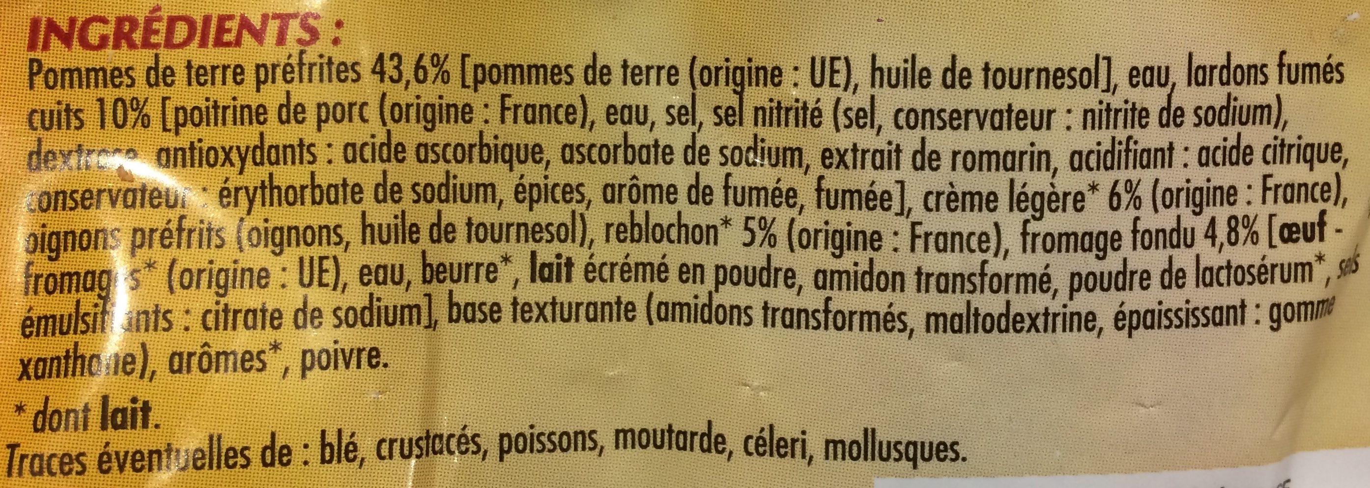 Tartiflette Reblochon, emmental et lardons fumes - Ingrédients - fr