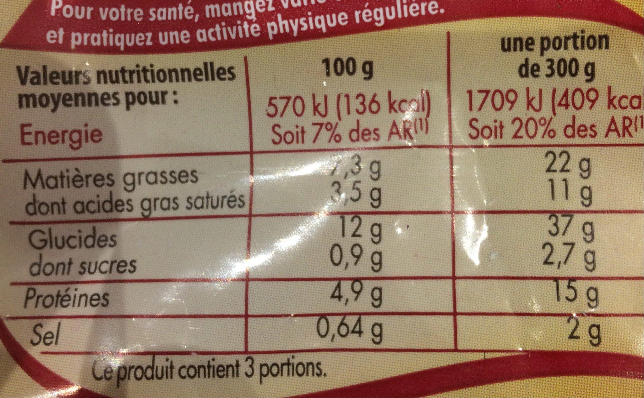 Tartiflette Reblochon, emmental et lardons fumes - Informations nutritionnelles - fr