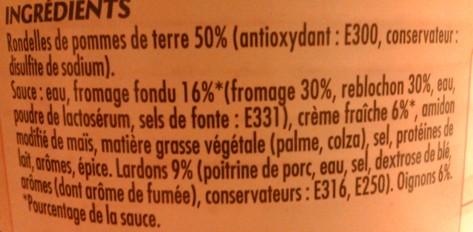 Tartiflette aux Lardons & Oignons - Ingrédients - fr