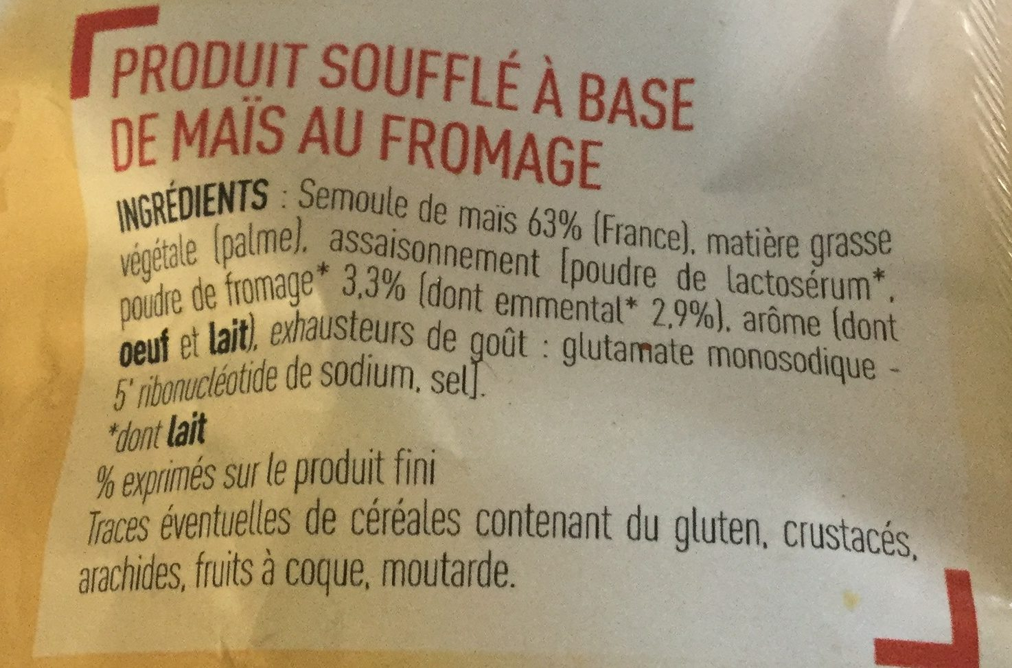 Craquille fromage - Ingredients