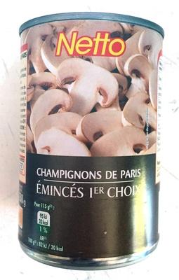 Champignons de paris emincés 1er choix - Produit