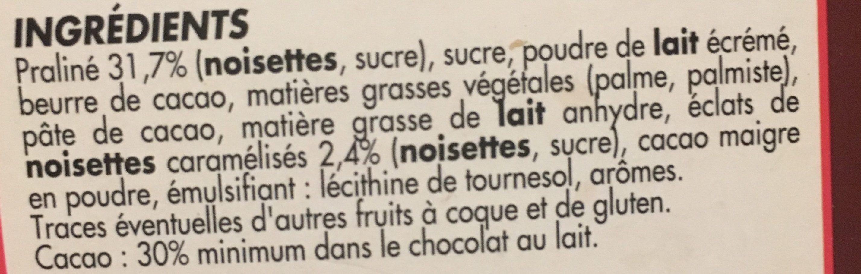 Lait praliné - Ingredients