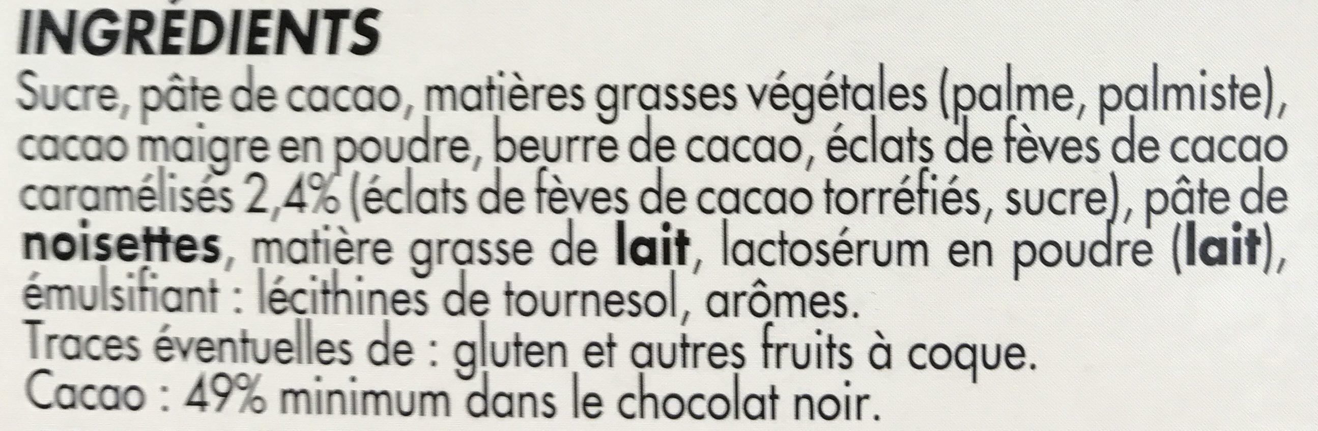 Chocolat noir fourré Truffe aux éclats de fèves de cacao - Ingredients