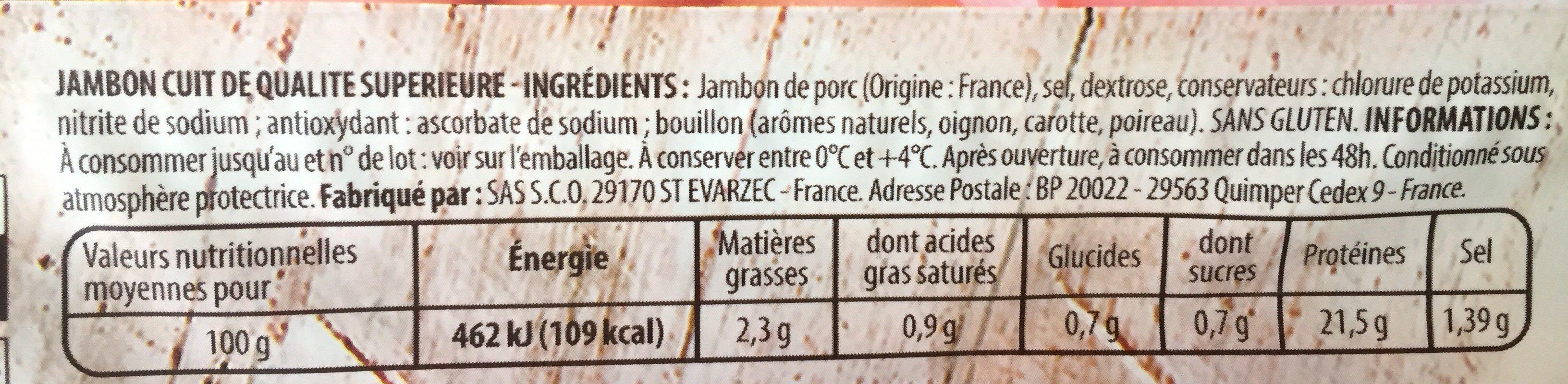Jambon Superieur - Ingrédients - fr