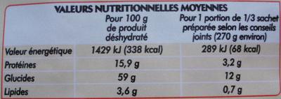 Soupe Chinoise à la poule - Informations nutritionnelles - fr