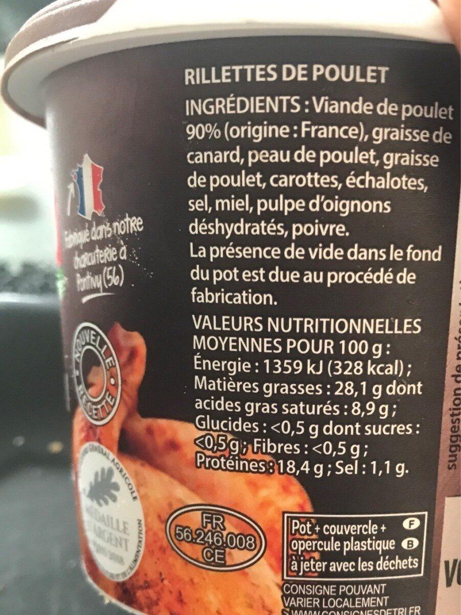 Rillettes de poulet rôti - Informations nutritionnelles - fr