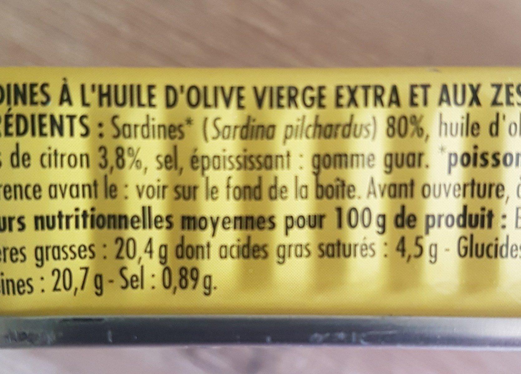 Sardines à l'huile d'olive vierge extra et aux zestes de citron - Ingrédients - fr