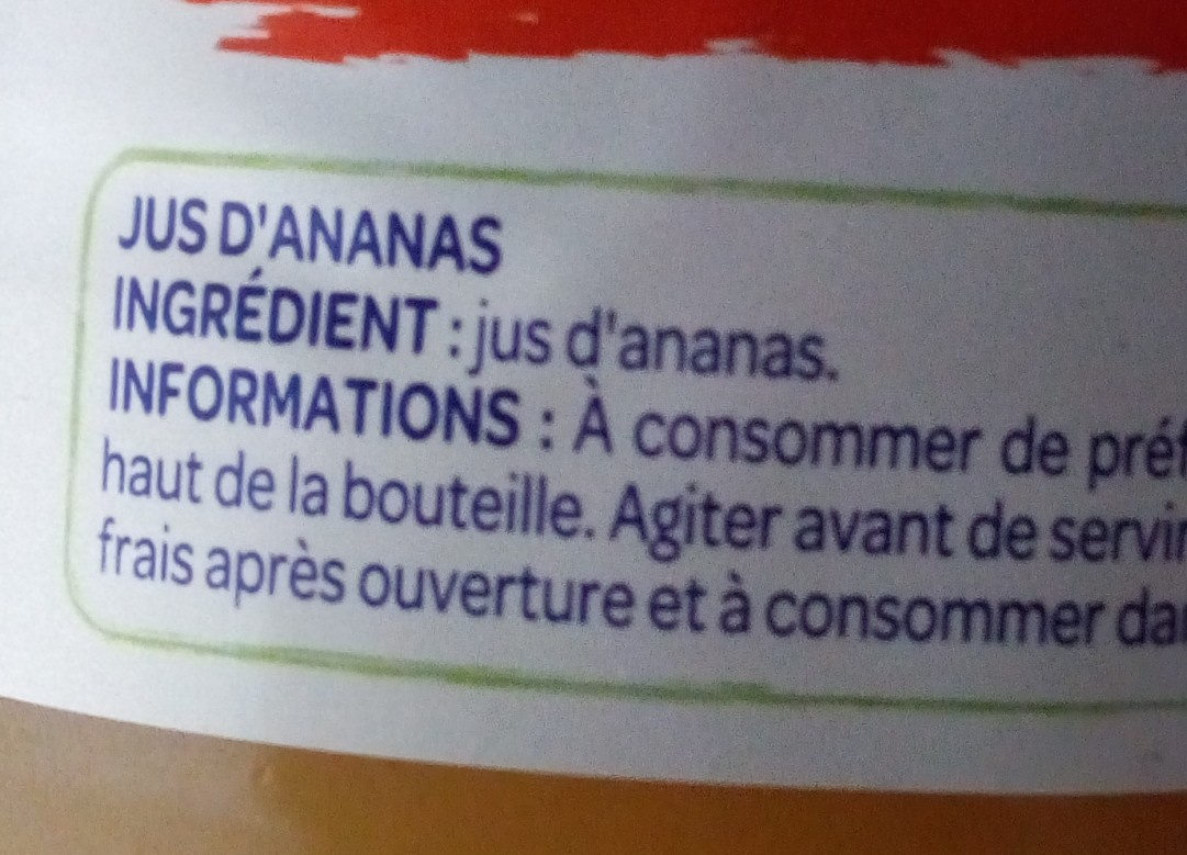 100% Pur jus Ananas - Nutrition facts