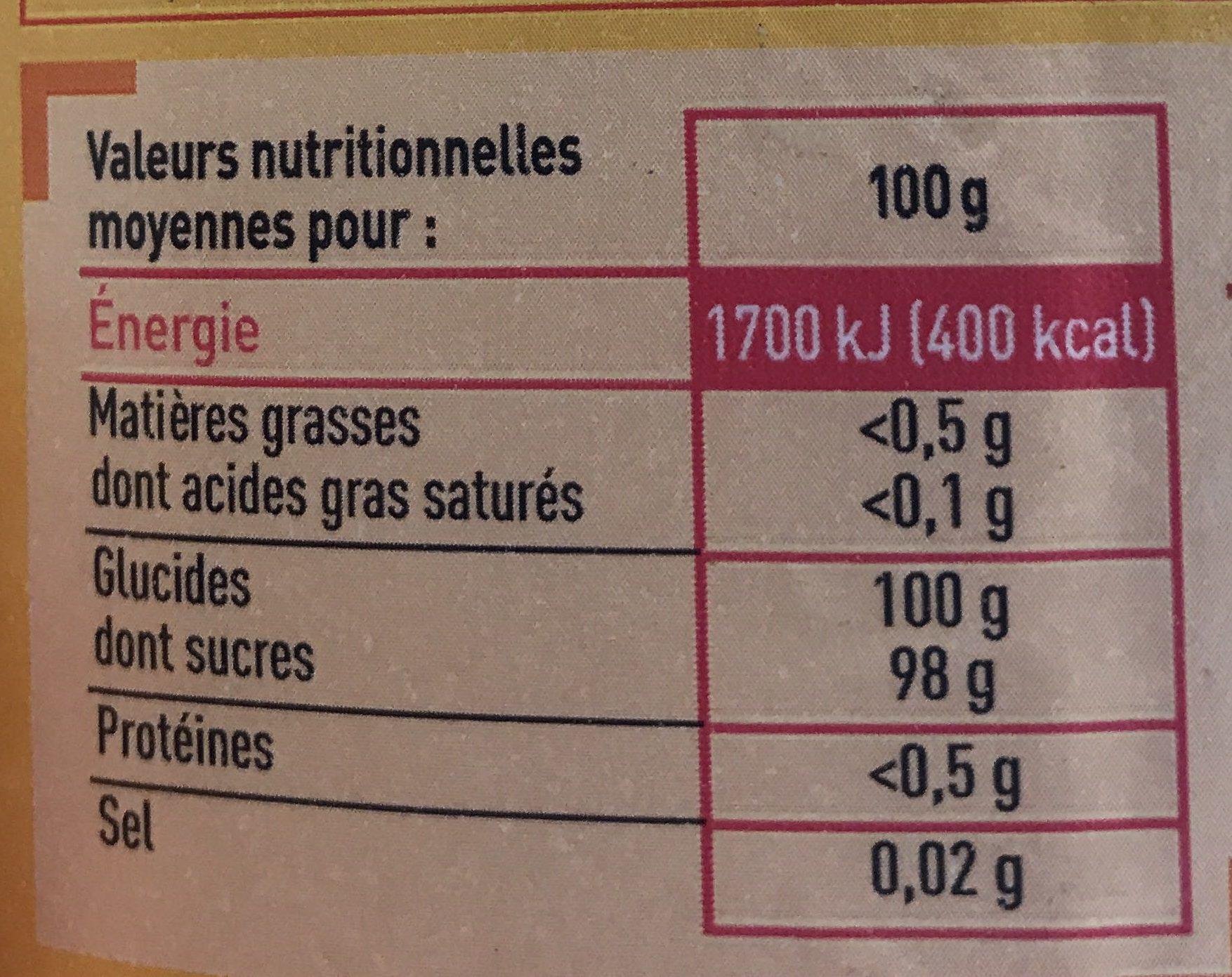 Sucre à confiture - Informations nutritionnelles