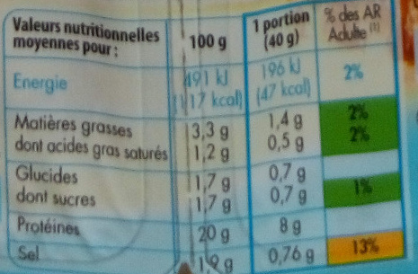 Emincés Nature - Informations nutritionnelles - fr