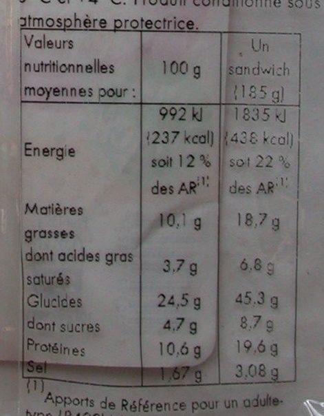 Baguette Viennoise Jambon Crudité Emmental - Informations nutritionnelles - fr