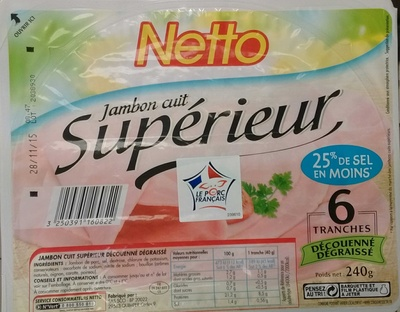 Jambon cuit supérieur (25% de sel en moins) - Produit