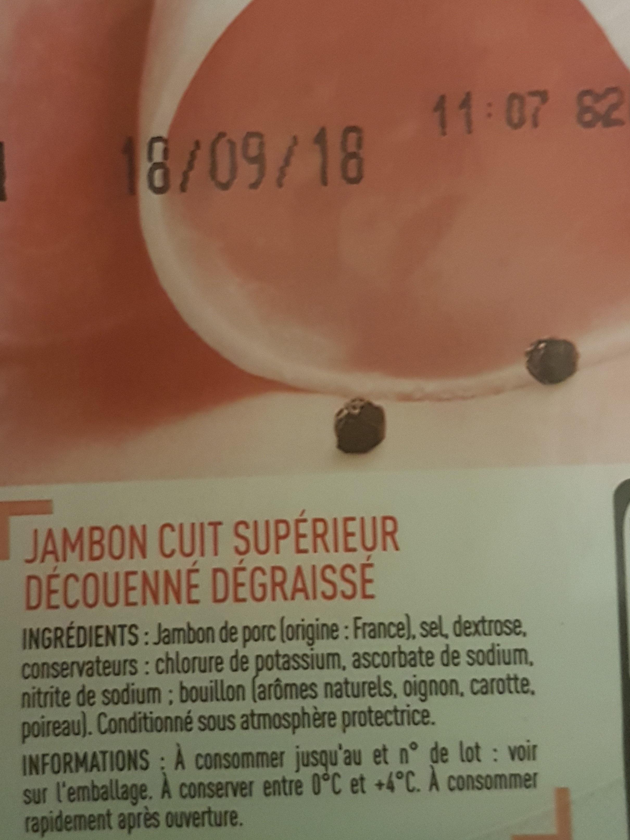 Jambon cuit supérieur (25% de sel en moins) - Ingrédients