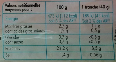Jambon cuit supérieur (25% de sel en moins) - Informations nutritionnelles
