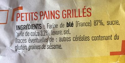 Petits Pains Grillés au Froment - Ingredients