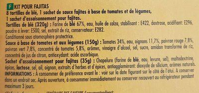 Kit pour fajitas - Ingrédients - fr
