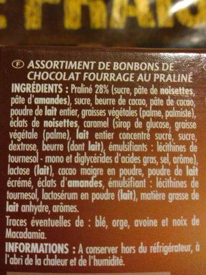 Ballotin assortiment Les Pralinés - Ingredients