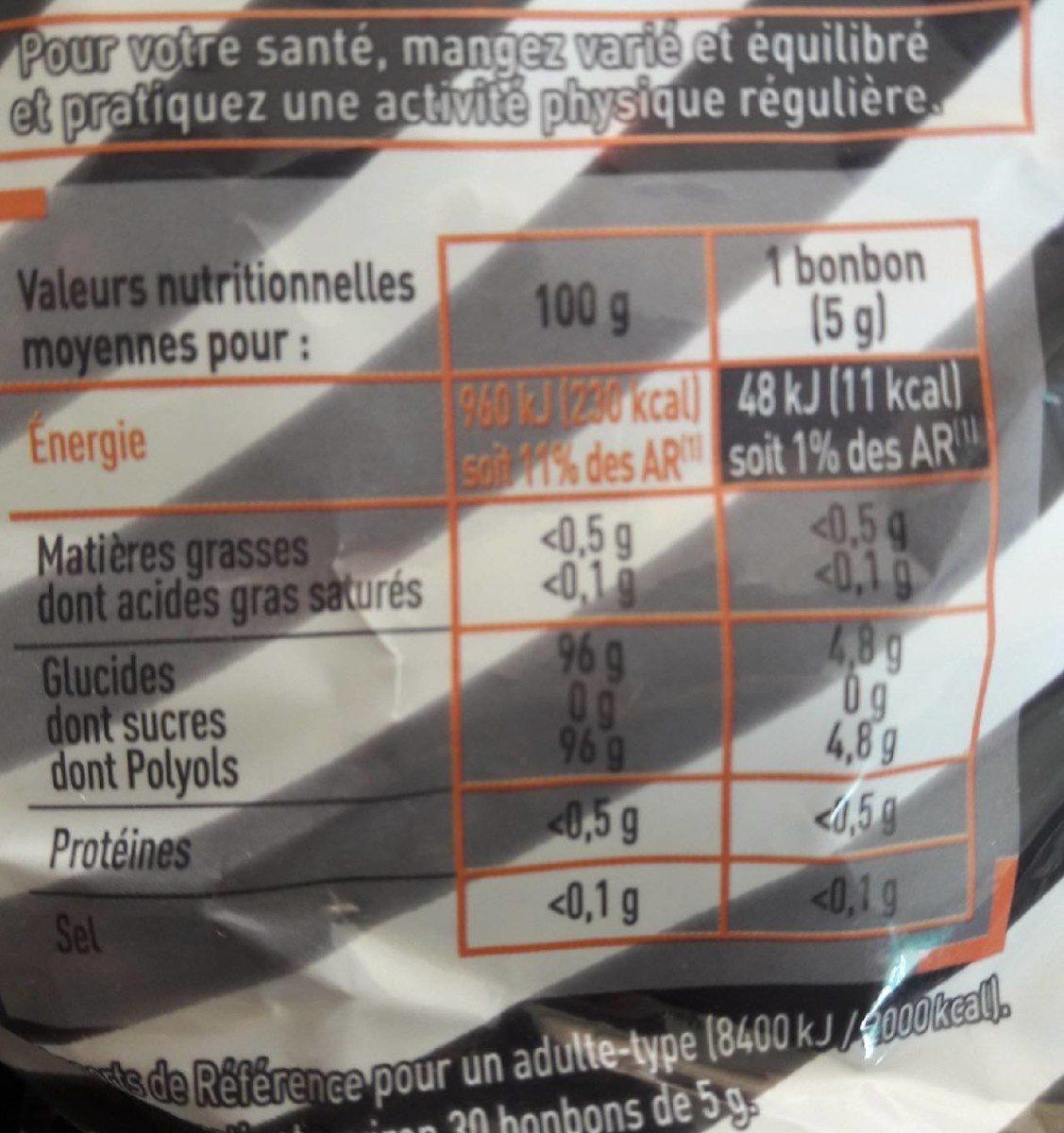 Plaisir Léger sans sucres à la réglisse - Informations nutritionnelles