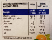 100% pur jus Douceur du matin - Nutrition facts