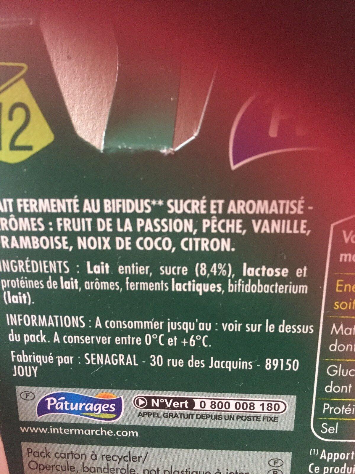 Bifidus aromatisés Paturages - Ingredients - fr