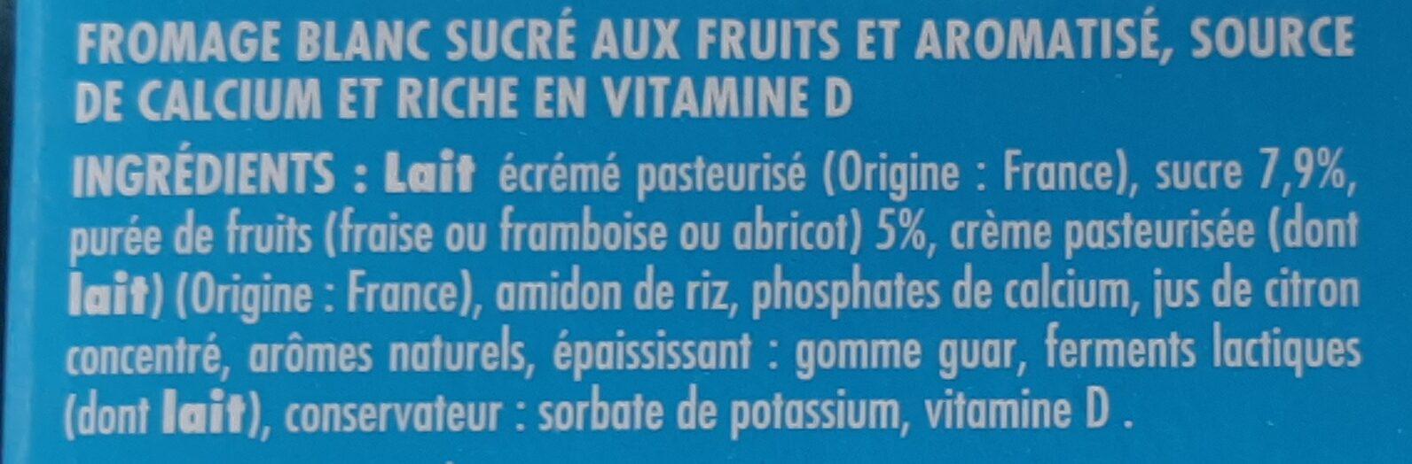 Tubes de fromage blanc aux fruits fraise/framboise/abricot - Ingrédients - fr
