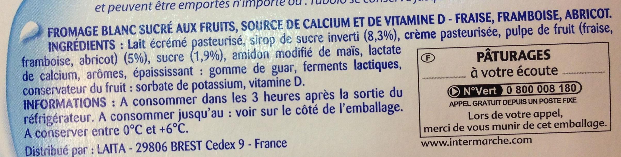 Tubes de fromage blanc aux fruits fraise/framboise/abricot - Ingrédients
