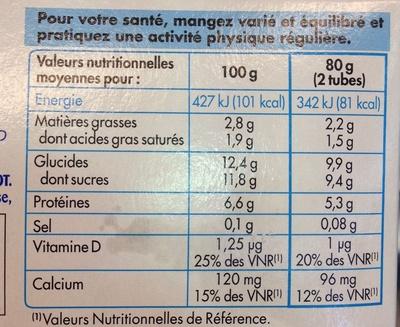 Tubes de fromage blanc aux fruits fraise/framboise/abricot - Informations nutritionnelles