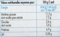 Lissea mousse nature 8x100g pâturages - Nutrition facts - fr