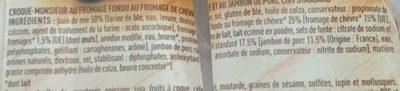 2 Croque-Monsieur Chèvre - Ingredients - fr