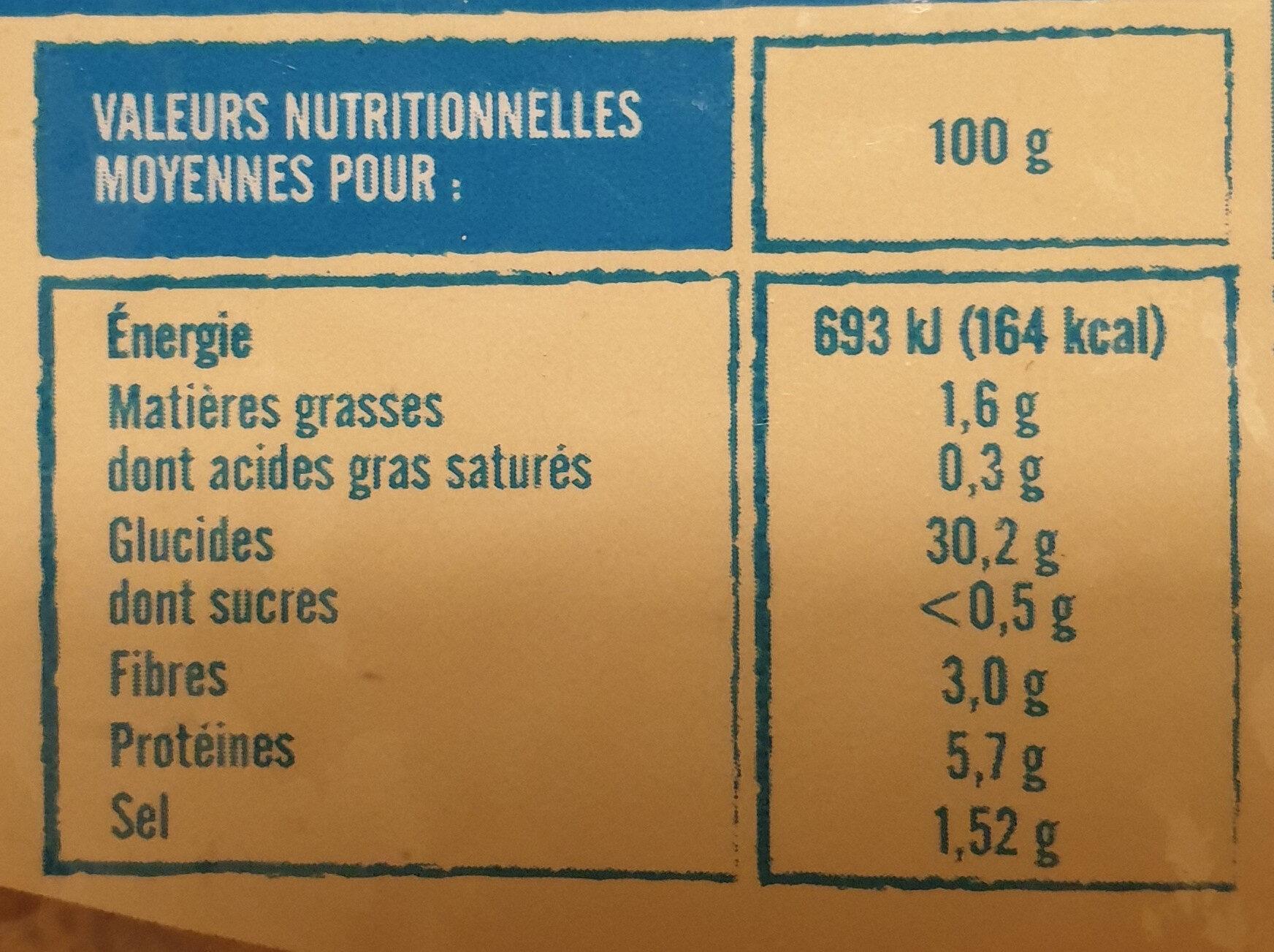 Galettes farine de blé noir - Nutrition facts - fr