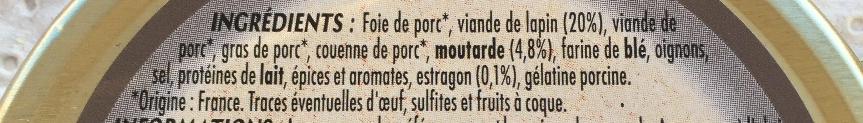 Terrine de lapin cuisinée à la moutarde et à l'estragon - Ingrédients - fr