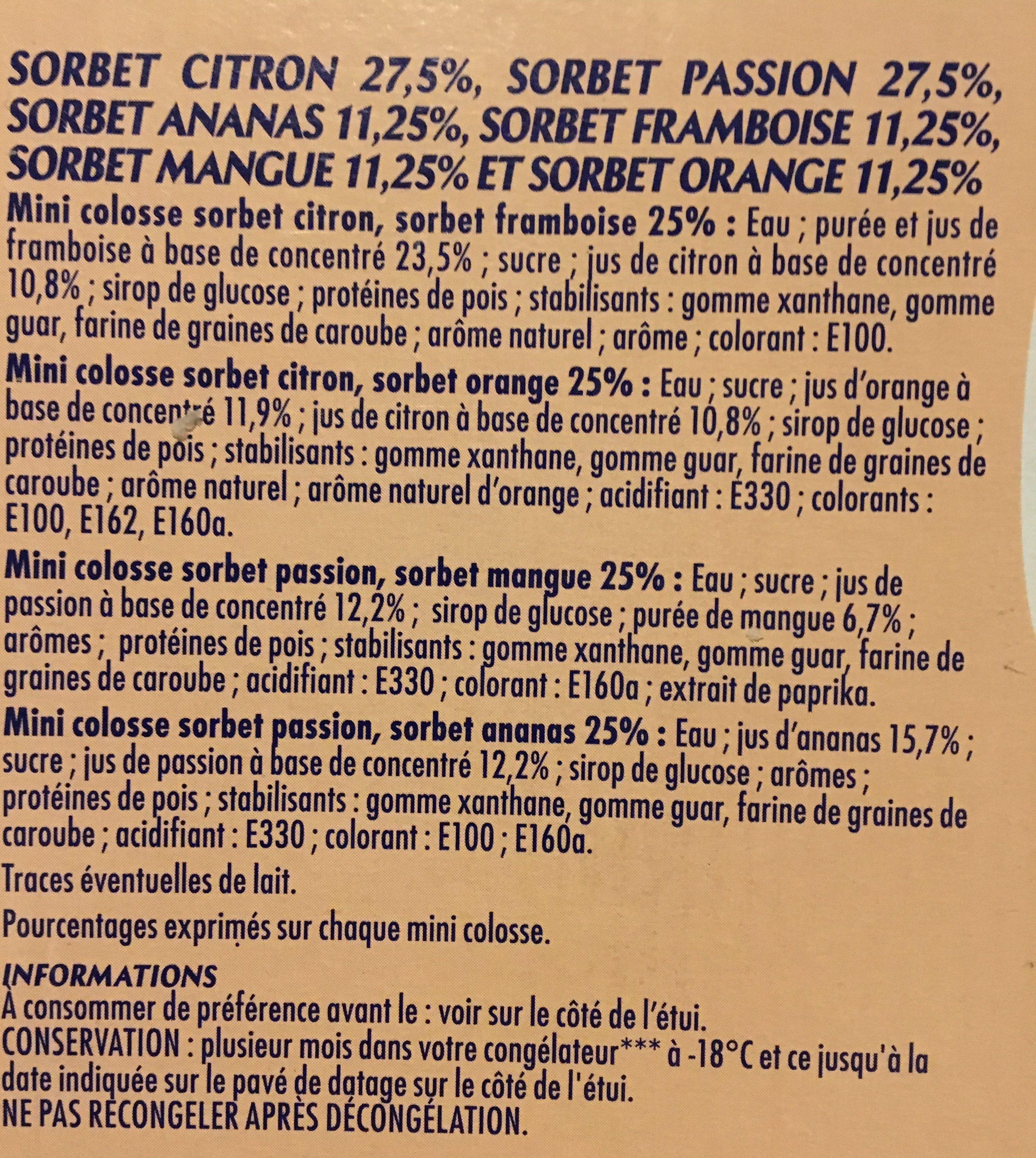 Adelie, Mini mix sorbets, les 8 mini sorbets de - Ingrediënten - fr