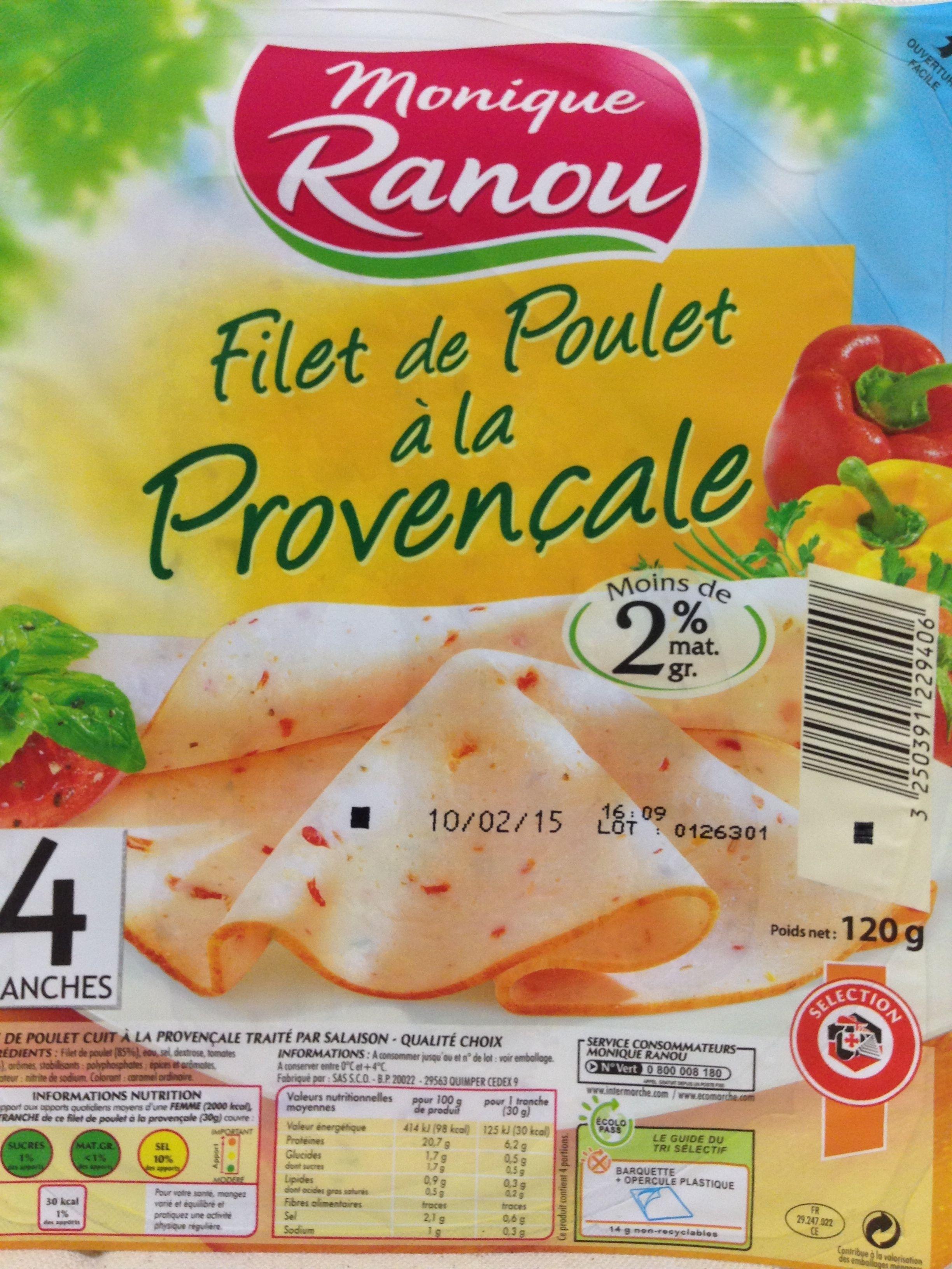 Filet de Poulet à la Provençale - 4 Tranches - Produit - fr