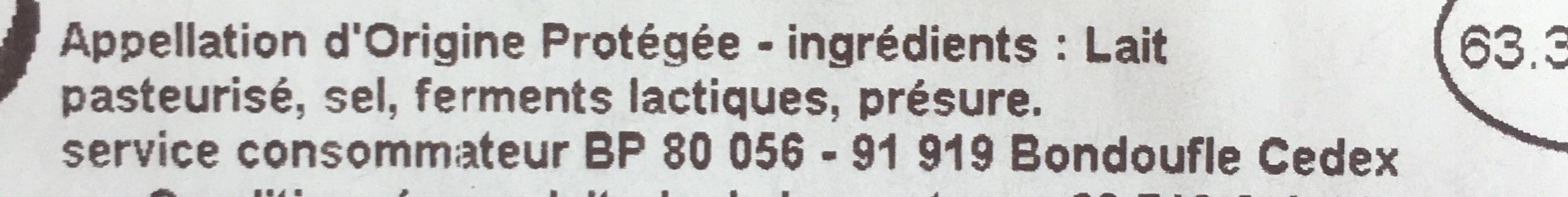 Cantal Jeune AOP - Ingrédients - fr