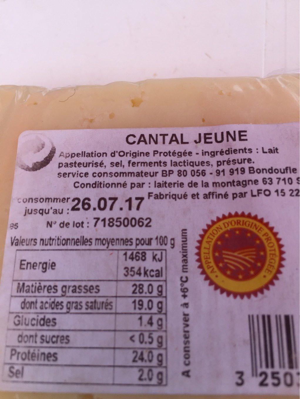 Cantal Jeune AOP - Informations nutritionnelles - fr