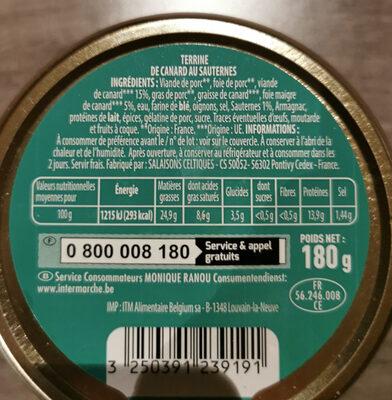 Terrine de canard cuisinée au Sauternes - Nutrition facts - fr