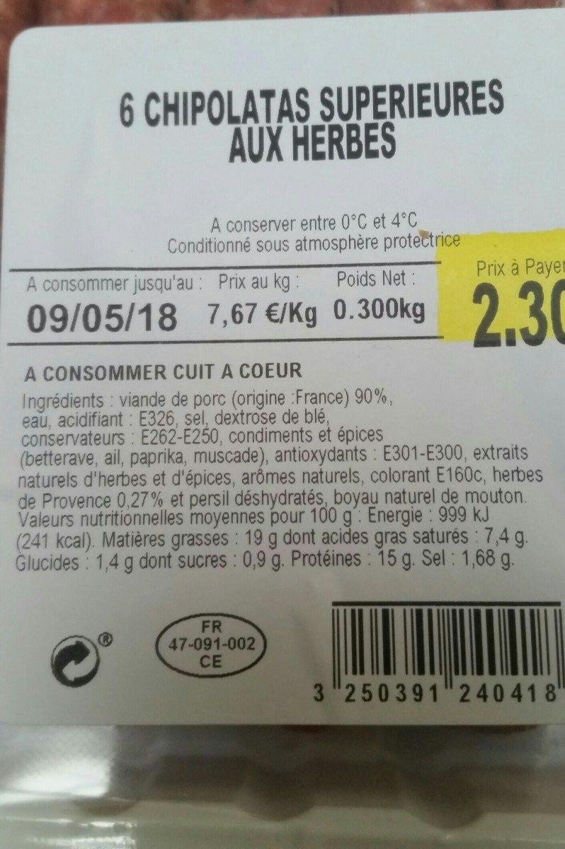 6 Chipolatas Supérieures aux Herbes - Ingrediënten - fr