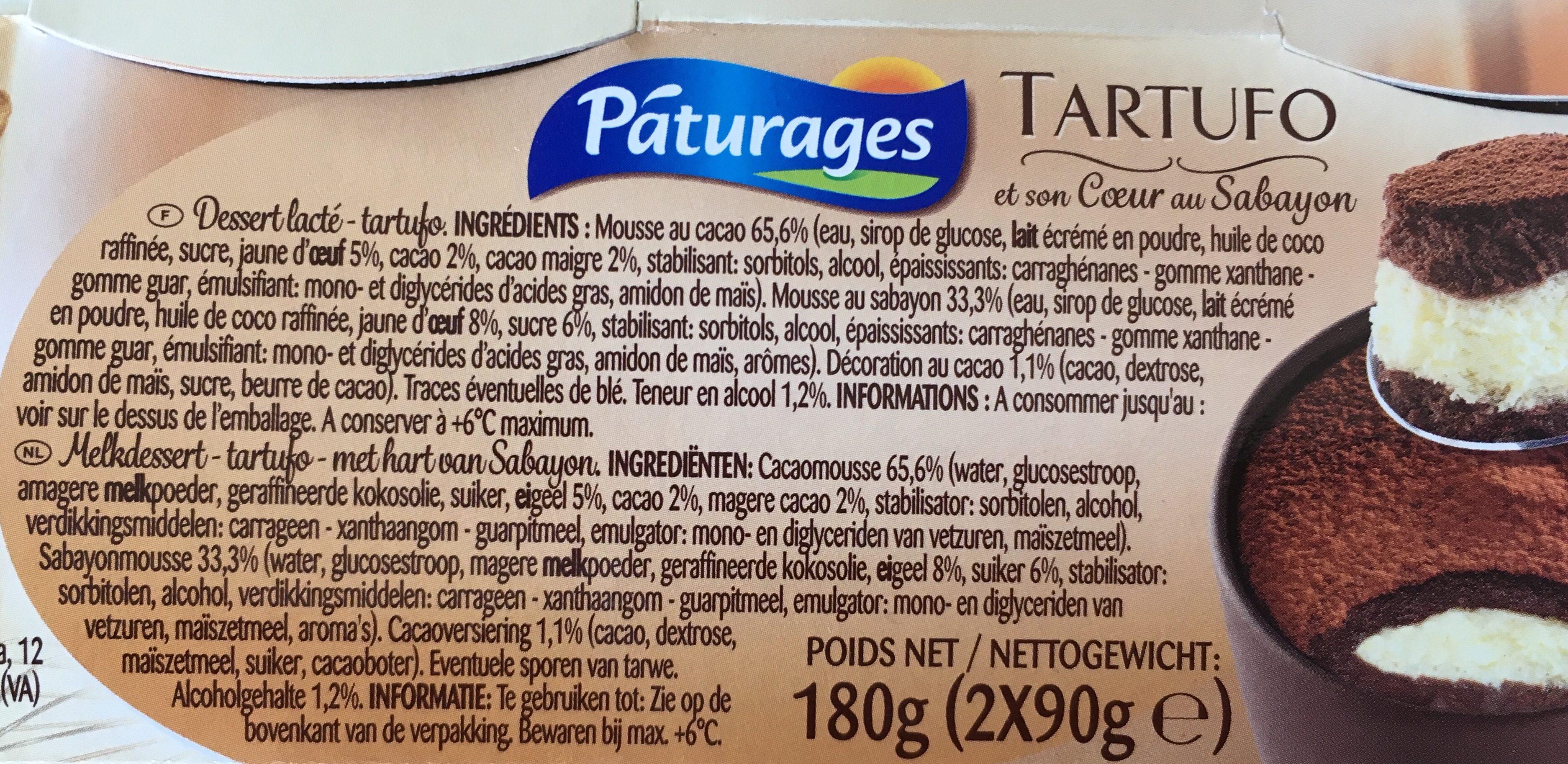 Tartufo - et son Coeur au Sabayon - Ingredients