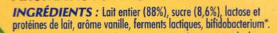 Bifidus saveur vanille (12 Pots) - Ingrédients - fr