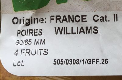 Poires Williams Bio - Ingrédients - fr