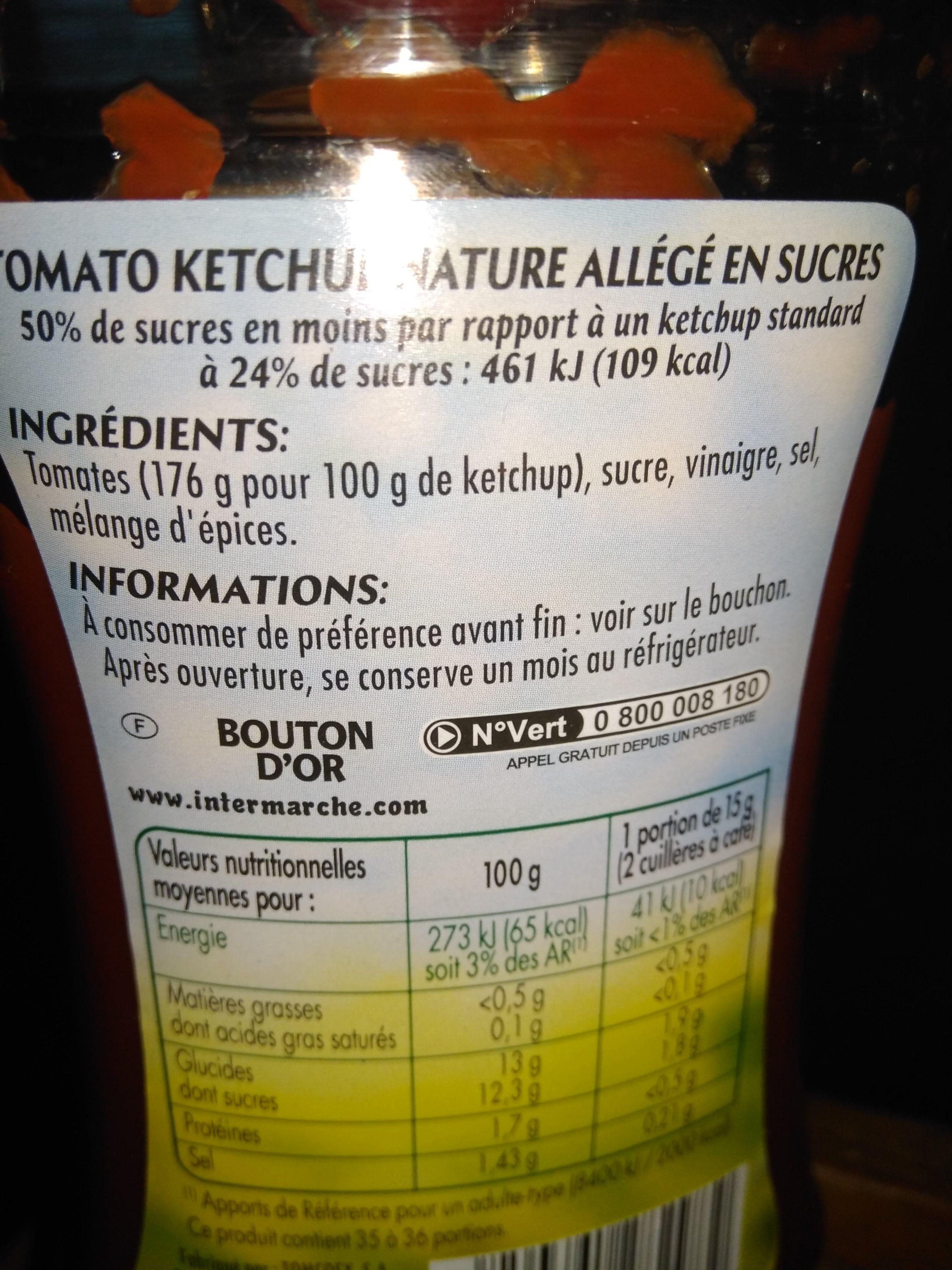 Ketchup Allégé (- 50% Sucres) - Ingrediënten