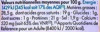 Frère Augustin - Informations nutritionnelles
