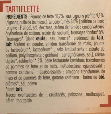 Tartiflette Aux lardons fumés Aux fromages - Ingrédients - fr