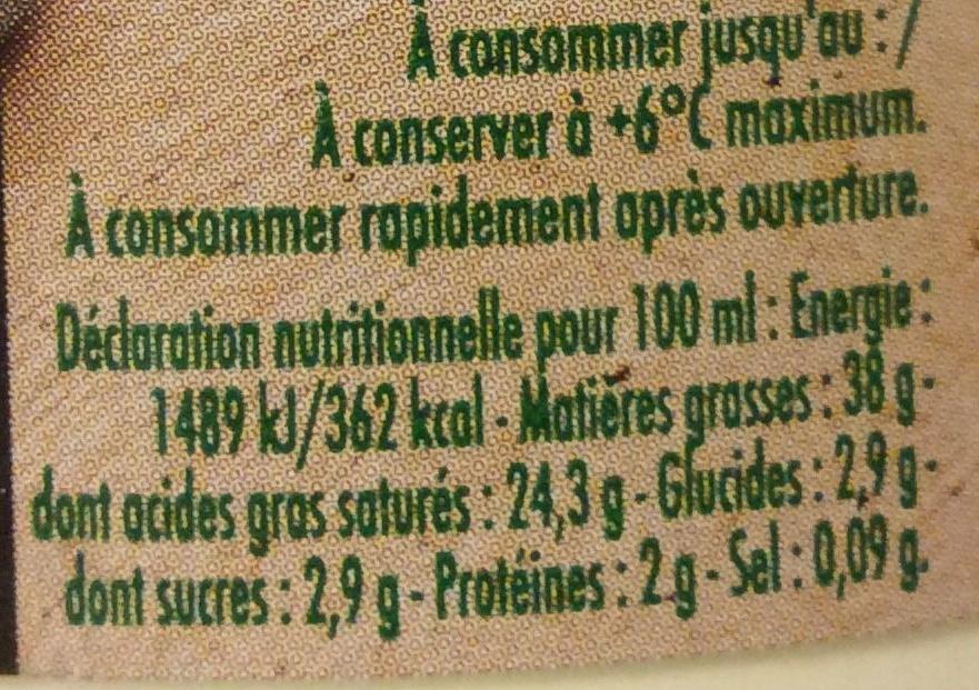 Crème fraîche d'Isigny épaisse - Informations nutritionnelles